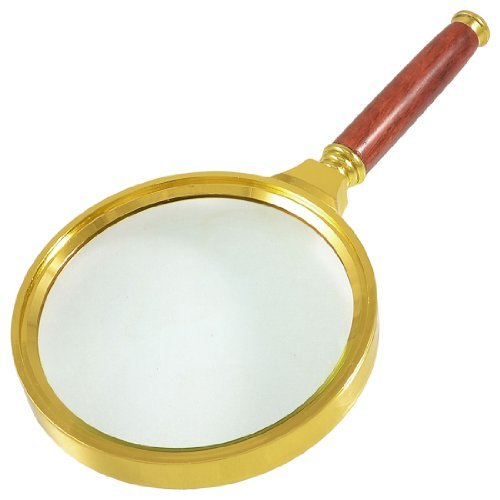 Dimart 90mm Dia Gold Tone Metal Frame 10X Magnifying Glass Magnifier - 1