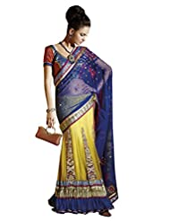 Anvi Creations Net Brocade Yellow Blue Embroidered Lehenga Saree (Yellow_Free Size)
