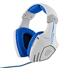 buy Shengtu [The New Sades A60] Stereo Headphone Gaming Headset With Microphone 50Mm Driver 7.1 Surround Sound Led Logo 2.2M Cable Usb Plug Mic For Pc Laptop(White / Blue)