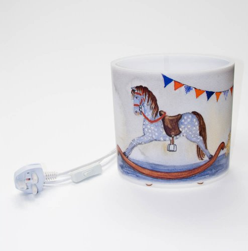 artistic oval (8 inch wide, 8 inch high) table lamp / bedside lamp with a beautiful colour drawing of a nursery scene of an old fashioned rocking horse