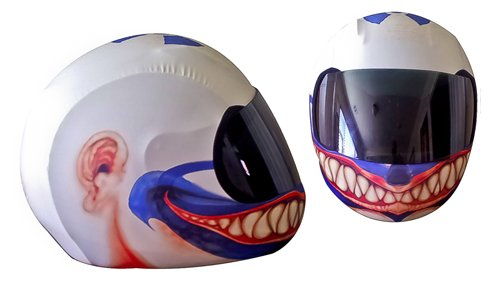 SkullSkins Clown Motorcycle Helmet Street Skin (Red/Blue)