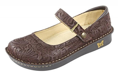 Alegria Women'S Belle Mary Jane Flat,Choco Emboss Paisley,40 Br/10 M Us front-36965