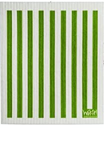Swedish Treasures Wet-it! Cleaning Cloth, Works Great in Kitchen, Bathroom or Any Room, Reusable & Biodegradable, Green Stripe