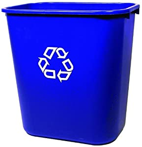 """Rubbermaid FG295673 Blue Medium Deskside Recycling Container with Universal Recycle Symbol, 28-1/8 qt Capacity, 14.4"""" Length x 10.25"""" Width x 15"""" Height"""