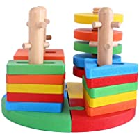 VolksRose Creative Wooden Color And Shape Geometric Sorting Board 2 - Stack Sort Puzzle Toys For Child 3 Year...
