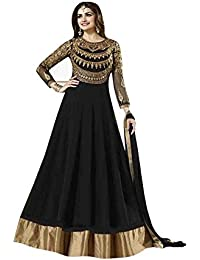 Aryan Fashion Black Colour Georgette Fabric Embroidery And Hand Work Semi Stitched Top With Unstitched Bottom...