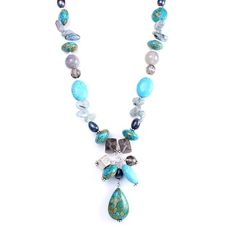 Handmade Dyed Freshwater Pearls, Blue Kyanite, Smoky Quartz, Agate, Hammered .950 Silver Beads, Resin Beads and Dyed Calcite Bead Pendant Choker Necklace