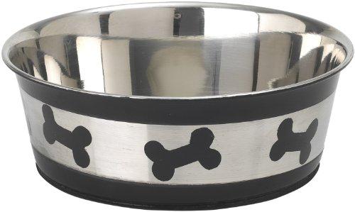 Petrageous Stainless Steel Pet Bowls Tobago Bones, 1-Count