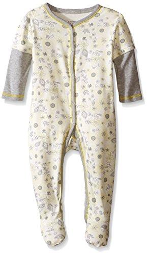 Calvin Klein Baby Girls Flower Print Footie Pajama, Gray/Yellow, 0-3 Months
