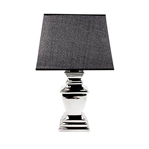 Tischlampe-Leuchte-Lampe-mit-Lampenschirm-silber-Keramik-XL-H54cm-XXL-H70cm-Silber-XL-54cm