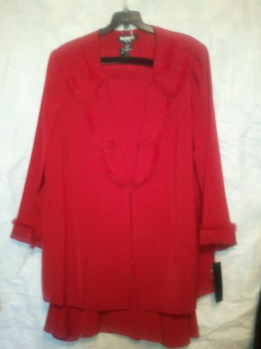 3 Piece Red Skirt Suit