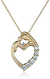 XPY 14k Yellow Gold Mother's Jewel Aquamarine Heart with Diamond Accent Pendant Necklace, 18""