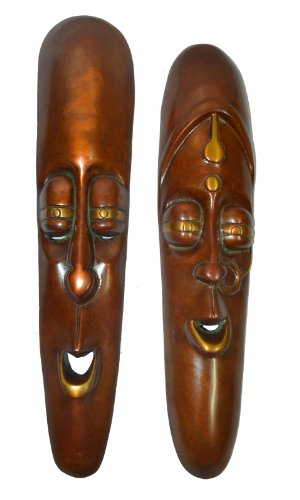 Real Real Expo Brass Mask Male  Female Couple Wall Hanging Tribal Art Rustic Finishhome Deacute;Cor Pair Of 2