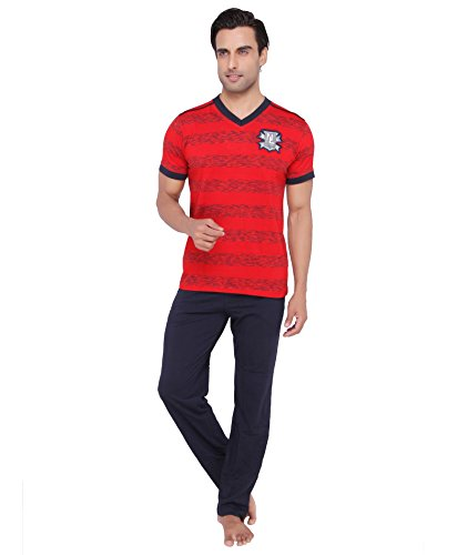 Valentine-Mens-Casual-Red-color-V-Neck-Top-Pyjama-Set