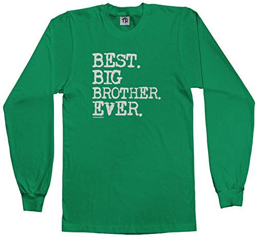 Threadrock Big Boys' Best Big Brother Ever Youth Long Sleeve T-Shirt L Kelly Green