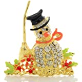 Imixlot Christmas Inspired Snowman Broom Brooches Pins