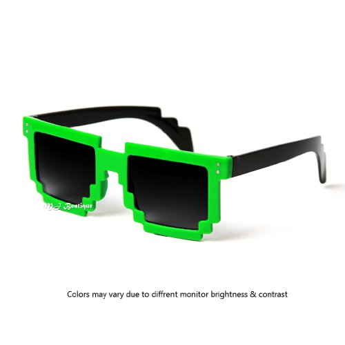 MJ Boutique's 8-Bit Pixel Green & Black Sunglasses Video Game FREE POUCH