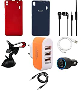 NIROSHA Cover Case Car Charger Headphone USB Cable Mobile Holder Charger car for Lenovo K3 Note - Combo