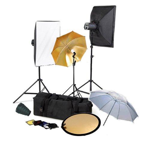 CowboyStudio Photo Studio Monolight Flash Lighting Kit with Carrying Case - 3 Studio Flash/Strobe, 2 Softboxes, Strobe Accessories