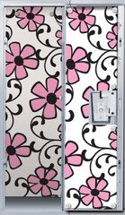 Pink Flower Scroll Locker Wallpaper