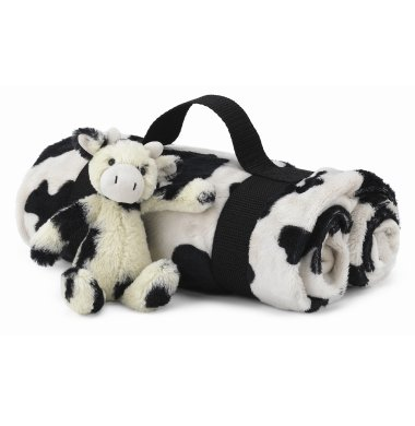 Jellycat Jellykitten Bashful Calf Cow Blanket Travel Set - Plush Stuffed Animals