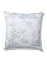 Toile Print Quilted Cushion