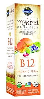 Garden of Life Kind Organics Methylcobalamin B12 Spray (Vegan, Gluten & Dairy Free, Raspberry Flavour, 500mcg, 58ml)