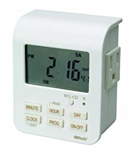 Woods 50009 Indoor 7-Day Heavy Duty Digital Outlet Timer with 2-Outlets