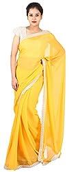Kasturi Sarees Basement Women's Chiffon Saree (Yellow)