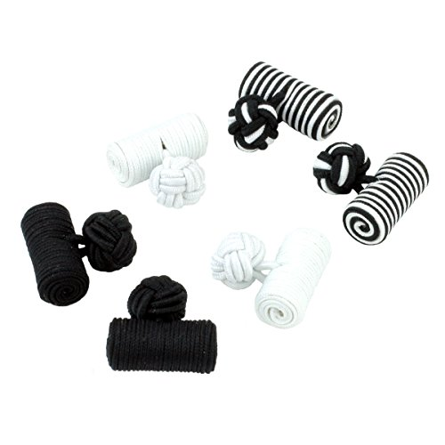 Cufflinksman-3-Pair-Black-and-White-Log-Silk-Knot-Cufflink-Gift-Set-in-Presentation-Box