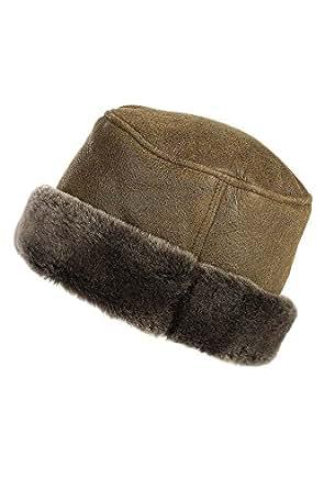 "Russian Shearling Sheepskin Cossack Hat, RUGGED WHISKEY, Size Medium (22.25"" circumference)"