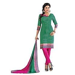 Triveni Women's Crape Salwar Kameez Dress Material (TSTZSK393_Green)