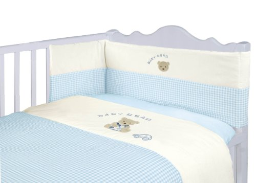 Nursery Baby Bale Bedding Set Blue Gingham Check - Baby Boy's Cot Bed Set