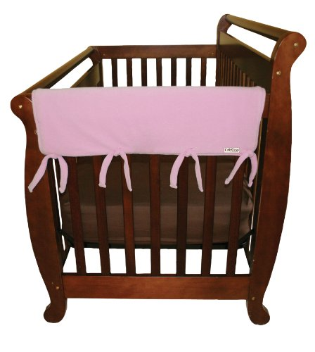 Trend-Lab-Fleece-CribWrap-Rail-Covers-for-Crib-Sides-Set-of-2-Pink-Wide-for-Crib-Rails-Measuring-up-to-18-Around