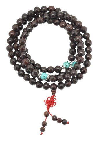 Tibetan 8mm Wood Beads Elastic String 108 Prayer Beads Necklace, Wrap Wrist Mala