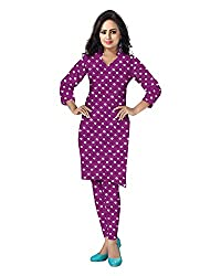Banjara Women'S Cotton Bandhani Unstitched Dress Material (Rf21 _Magenta Violet_Free Size)