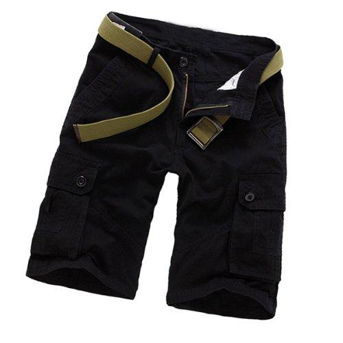 Aubig Herren Baumwolle Casual Relaxed Cargo Shorts knielange kurze Hose Cargohose mit Gürtel - Schwarz Größe XS+ (Asiatische Größe 30)