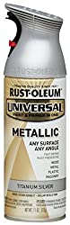 Rust-Oleum 245220 UNIVERSAL Metallic Spray Paint, Titanium Silver, 312 grams