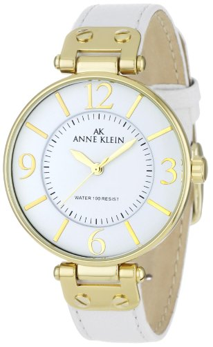 AK Anne Klein Women's 109168WTWT Gold-Tone Round White Leather Strap Watch