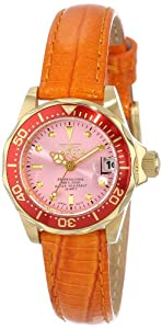 Invicta Women's 14103 Pro Diver Pink Dial Orange Leather Watch