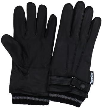 Amicale Men's 100% Cashmere Stripe Knit Cuff Glove, Black, Medium