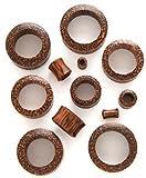 Tabu Coconut Wood Organic Hand Carved Concave Ear Stretcher Flesh Tunnel 19mm - 68A