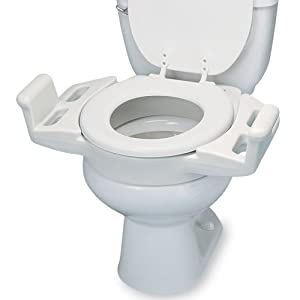 Ableware 725600050 Elevated Push Up Toilet Seat with Armrest