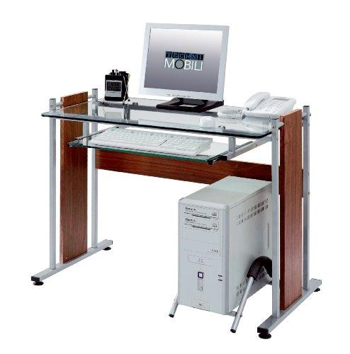 Techni mobili tempered glass mdf computer desk mahogany for Mobili mdf
