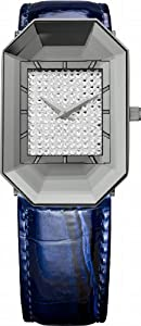 Jowissa Women's J8.010.M Scala Stainless Steel Blue Genuine Leather Rhinestone Imprint Dial Watch