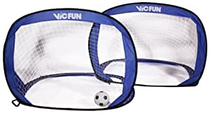 VICFUN Fußballtor Pop Up Goal Set mit 2 Toren inklusive Ball und Pumpe, blau/schwarz, 870/0/0