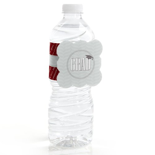 Con-Grad-Ulations Red - Water Bottle Labels (Set Of 12)