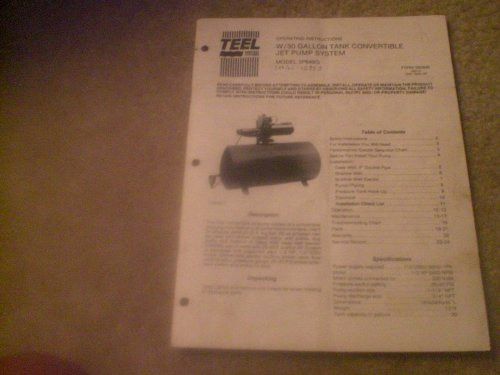 Operating Instructions W/30 Gallon Tank Convertible Jet Pump System