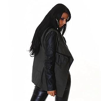Silamoda - Femme - Veste fashion façon trench avec manches noires effet cuir - Vert - S