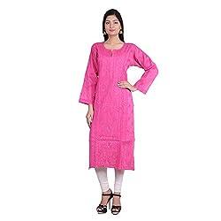 Indian Artizans Pink Cotton Noorie Kurta With Chikankari